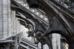 Gothic ornaments. Repetitive architectural details of Milan's Duomo cathedral. Landscape orientation Stock Image