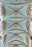 Gothic painted ceiling in church. COURTRAI, BELGIUM-FEBRUARY 22, 2014: Gothic painted ceiling in Saint-Martin's Church of Courtrai or Kortrijk. The church was Stock Photography