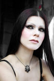 Gothic pale skin woman. In cemetery close-up royalty free stock photos