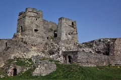 Gothic part of castle Levice, Slovakia, against spring blue sky Stock Photo