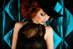 Gothic person. Portrait of an enchanting witch woman, beautiful and glamorous. Halloween stock images