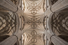 Gothic pilars. The gothic nave of the Salamanca cathedral. Spain Royalty Free Stock Photo