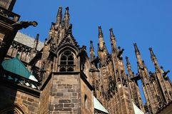Gothic pinnacles. Of the Cathedral of Saint Veit in the Castle of Prague royalty free stock image