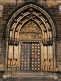 Gothic portal. Gothic entrance portal of the Saint Peter and Paul church at Vysehrad, Prague Stock Photo