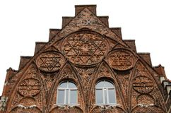 Gothic portal of church in Leuven with  arcs and ornament. Royalty Free Stock Photo