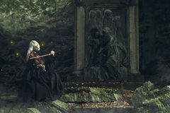 Gothic portrait of a dark lady playing a fiddle. With fireflies. Fantasy and halloween concept Royalty Free Stock Image