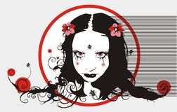 Gothic portraiy. Beautiful woman's vector portrait in black and red colours Stock Photos