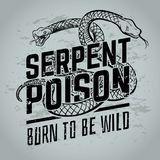 Gothic poster with viper snake. Vintage tattoo or t-shirt vector design. Illustration of reptile wild cobra danger grunge Royalty Free Stock Photo