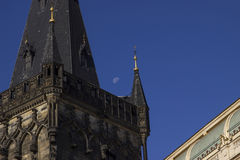 The Gothic Powder Tower in the Old Town  Prague with moon Royalty Free Stock Image