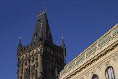 The Gothic Powder Tower in Prague with moon Royalty Free Stock Image