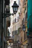 Gothic Quarter. Lane with lamp in  in Barcelona Stock Photography