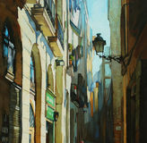Gothic quarter in barcelona, painting Stock Image