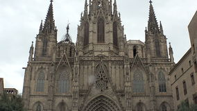 Gothic Quarter of Barcelona. Spain. Gothic Quarter of Barcelona. Ancient Gothic buildings, castles and architecture. Spain stock footage