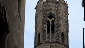 Gothic Quarter of Barcelona. Spain. Gothic Quarter of Barcelona. Ancient Gothic buildings, castles and architecture. Spain stock video