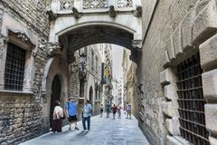 Gothic quarter of Barcelona. BARCELONA, SPAIN - AUGUST 19: Gothic quarter of Barcelona with tourists Stock Photography
