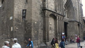 Gothic Quarter of Barcelona. Spain. BARCELONA, SPAIN - SUMMER 2016: Gothic Quarter of Barcelona. Ancient Gothic buildings, castles and architecture. Spain stock footage