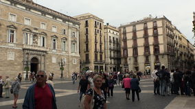 Gothic Quarter of Barcelona. Spain. BARCELONA, SPAIN - SUMMER 2016: Gothic Quarter of Barcelona. Ancient Gothic buildings, castles and architecture. Spain stock video