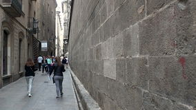Gothic Quarter of Barcelona. Spain. BARCELONA, SPAIN - SUMMER 2016: Gothic Quarter of Barcelona. Ancient Gothic buildings, castles and architecture. Spain stock video footage