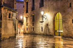 Gothic quarter of Barcelona in wet weather conditions Royalty Free Stock Photography