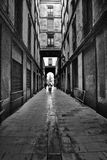 Gothic quarter. In the morning. Empty alleyways in Barcelona, Spain Royalty Free Stock Photo