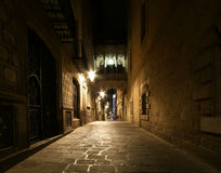 Gothic quarter at night. Barcelona Stock Images