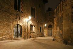 Gothic quarter at night. Barcelona Royalty Free Stock Photography
