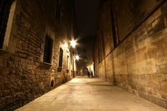 Gothic quarter at night. Barcelona Royalty Free Stock Image