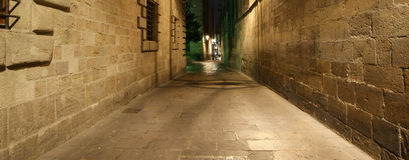 Gothic quarter at night. Barcelona Royalty Free Stock Photos
