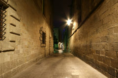 Gothic quarter at night. Barcelona, Spain Royalty Free Stock Photos