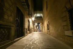 Gothic quarter at night. Empty alleyways in Barcelona Stock Photos