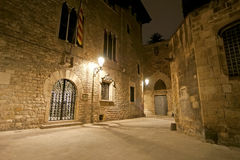 Gothic quarter at night. Empty alleyways in Barcelona Royalty Free Stock Photography