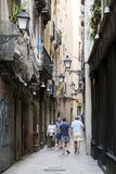Gothic Quarter streets in Barcelona Royalty Free Stock Images