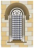 Gothic-reanaissance window. Italian gothic-reanaissance window on a wall background Stock Photos