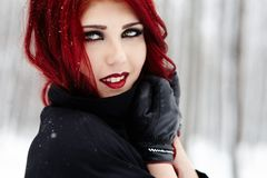 Gothic redhead woman Royalty Free Stock Image