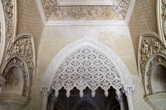 Gothic revival interiors in Monserrate palace, Sintra, Portugal Royalty Free Stock Images