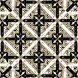 Gothic Revival Seamless Check Pattern. Digital art technique geometric check style medieval or gothic motif seamless pattern design in brown againt black and Royalty Free Stock Photo
