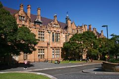 Free Gothic Revival Style Facade Of Classic And Historic Quadrangle With Red Sandstone At University Of Sydney, Australia Royalty Free Stock Images - 137447209