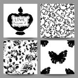 Gothic romantic cards collection. Scrap booking set. Royalty Free Stock Photo
