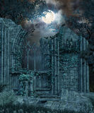 Gothic Ruin at Night. 3D rendering of an enchanted Gothic ruin in a forest at full moon royalty free illustration