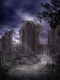 Gothic ruins 2. Night scenery with gothic ruins stock illustration