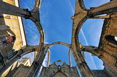 Gothic ruins. Ruins of museum of Carmo in Lisbon, Portugal Royalty Free Stock Photos