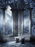 Gothic Ruins With A Bench Royalty Free Stock Images
