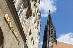 Gothic Saint Lambert church tower, city Münster. Germany, North Rhine-Westphalia, city Muenster: In the historic center, inner city, downtown, stands on the ' Royalty Free Stock Image