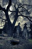 Gothic scene with opened tomb Royalty Free Stock Photo