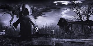 Winged Grim Reaper. Gothic scenery with Grim Reaper and old shack Royalty Free Stock Photography