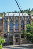 Gothic school in Tbilisi. Facade of school in gothic style in Tbilisi stock photography