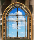 Gothic or scifi window with blue sky Royalty Free Stock Photo