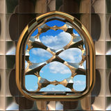 Gothic or scifi window with blue sky Royalty Free Stock Images