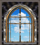Gothic or scifi window with blue sky Stock Images