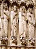 Gothic sculpture. Detail of a religious sculpture on the gothic Chartres cathedral in France stock photography